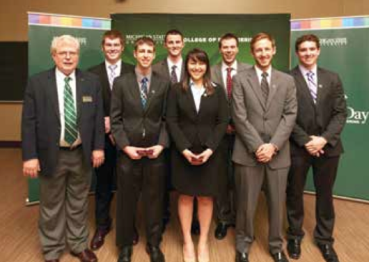 Back Row Left to Right: Joseph Kolpasky, Daniel Krokker and Daniel Domino Front Row Left to Right: Dr. Tom Wolff, Dylan Simmer, Anna Strong, Ryan Austin and Tyler Hesse