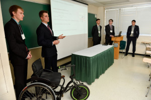 """The ME James Dyson Foundation team giving their presentation: """"Inclusive Sports Wheelchair"""""""