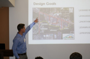 A Civil Engineering team member explains their concept for the MSU to Lake Lansing Trail Connector
