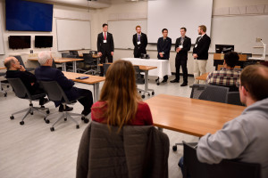 Mechanical Engineering students giving a presentation to visitors