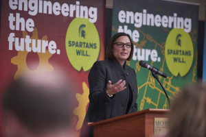 MSUFCU CEO April Clobes presents the keynote speech at the Awards Ceremony