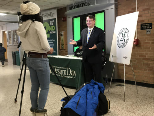 Dean Kempel talks to the press