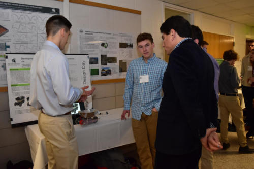 Freshmen Engineering students discuss their solar car