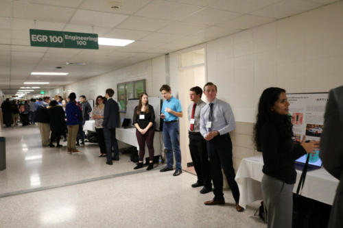 Freshmen engineering students await visitors