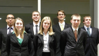 Back Row, L to R: Pablo Ramirez (P), Jesse Kenniston (G), Jacob Patin (PM), Matt Helfebein (S) Front Row, L to R: Bethany Swanberg (E), Samantha Eanes (WR), Ethan Akerly (T)