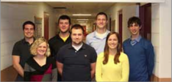 Team Members (L to R): Scott Mcgehee (S), Conrad MacBeth (T), Jordan Streby (H), Austin Rose (P). Front Row 1-r: Katelyn Burns (E), Eric Herbert (PM), Elizabeth Mroz (G)