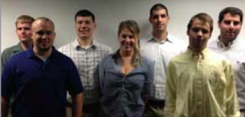 Team Members (L to R): Charles Singer (T), Nick Nelson (G), Nathan Pitters (S), Daniel Elhosni (E) Front row (l-r): Jacob Armour (P), Rachel Jackson (PM), Paul Larios (H)