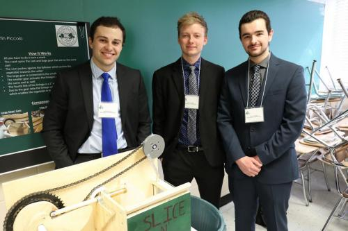 Mechanical Design I students show off their vegetable slicer