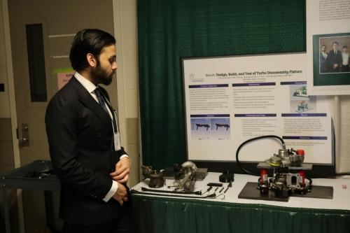 A Bosch Team student discusses their turbo project