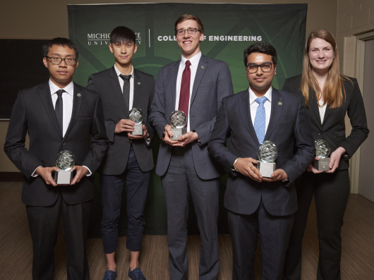 Left to right: Jie Wan, Jason Liu, Ian Whalen, Ankit Luthra, Tess Huelskamp