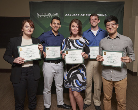 Left to right:  Laura Nye, Amad Wahib, Megan Friedrich, Logan Kincaid, Byeong Park
