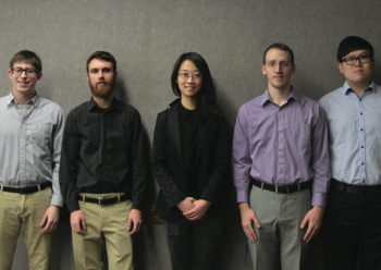 Team Members (L-R): Chris Huber, Caelan Fields, Hanqing Wang, David Gilbert, Zihao Wang